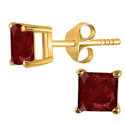 14K Yellow Gold Finish 5 MM Princess Cut Created Ruby Stud Earrings 1 Ct (Star Yellow Studs 14k Gold)