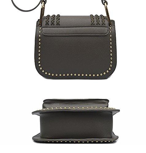 Bag Elements Women's Tassels Cross Elegant Rivets Grey Body Shoulder QZUnique and xXzq6BB