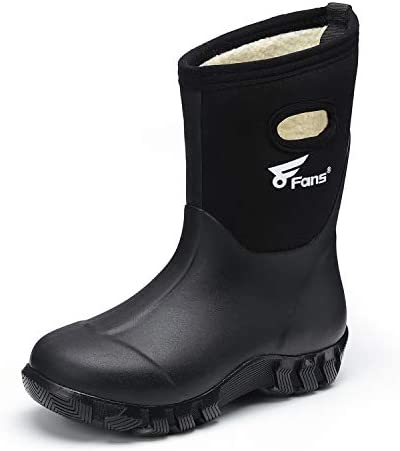 8 Fans Kids Rubber Boots 100% Waterproof Fishing Hunting Neoprene Winter Snow Rain Boots with Warm Liners for Boys and Girls
