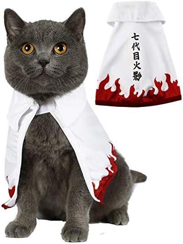 Disfraz divertido para mascotas ropa de gato capa de anime ninja con capucha cosplay para perros pequeños y gatos 2