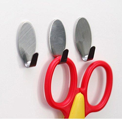 (MSOO 6 Stainless Steel Home Kitchen Wall Door Sticky Self Adhesive Hook Hanger Holder)