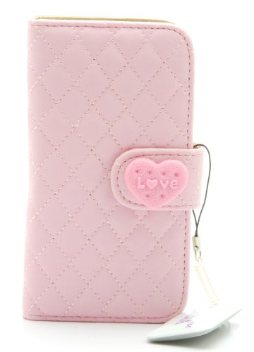 ZZYBIA IP5 QH Pink Leatherette Stand Case Card Holder Wallet for Apple Iphone 5 5s