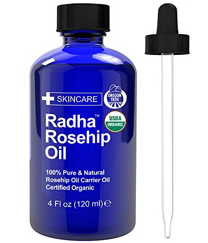 (Radha Beauty USDA Certified Organic Rosehip Oil, 4 oz. - 100% Pure & Cold Pressed. All Natural Anti-Aging Moisturizing Treatment for Face, Hair, Skin & Nails, Acne Scars, Wrinkles, Dry Spots)