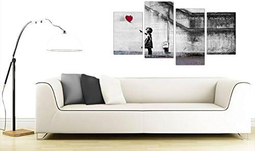 Extra Large Banksy Canvas Prints Balloon Girl 130cm XL RedSet 4050