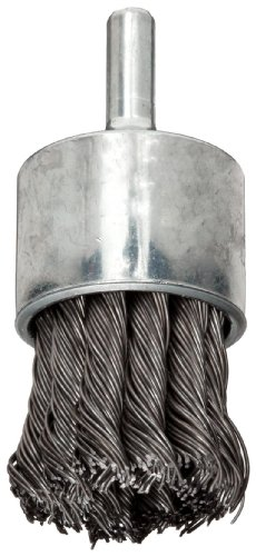 Weiler Wire End Brush, Hollow End, Round Shank, Steel, Partial Twist Knotted, 1-1/8