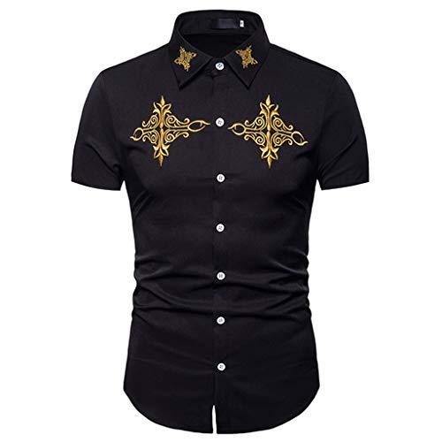 Toimothcn Mens Polo Shirts Button Down Slim Fit Short Sleeve Embroidery T Shirt Tops(Black1,XXL) ()