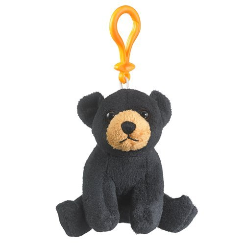 Black Bear Keychain - Black Bear Stuffed Animal Backpack Clip Toy Keychain WildLife, 4 Inches
