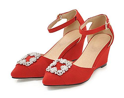 Knöchelriemchen Blumen Strass Rot Damen Geschlossen Keilabsatz Sandale Zehen Spitze Aisun x0XIBx