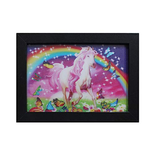 Hello Rosa Eagle 3D Picture Holographic Pics Optical Illusion Animated Image on Canvas with Frame, Modern Home Decor Artwork Party and Holiday Decorations (Unicorn) ()