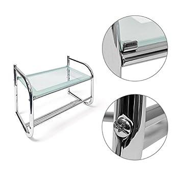 Helloshop26 Puerta Seca Toalla de baño Universal Acero y Cristal, plástico, Oro, 34 x 23 x 45 cm: Amazon.es: Hogar