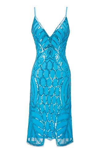 (Metme Women's Deep V Neck Sexy Straps Party Dress Vintage Sequin Evening Prom Club Sky Blue)