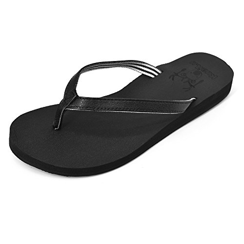 Black Slip KuaiLu with Arch Foam white Women's Sandals Yoga Support Flip Non Thong Flops BBxg76wq
