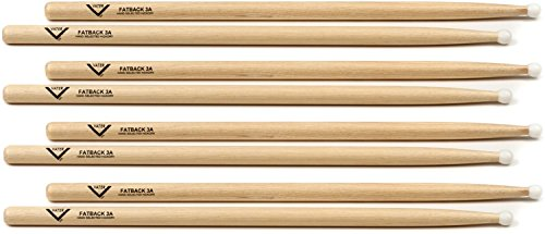 Drumsticks Nylon 3a (Vater Hickory Drumstick Prepack - Fatback 3A - Nylon Tip)