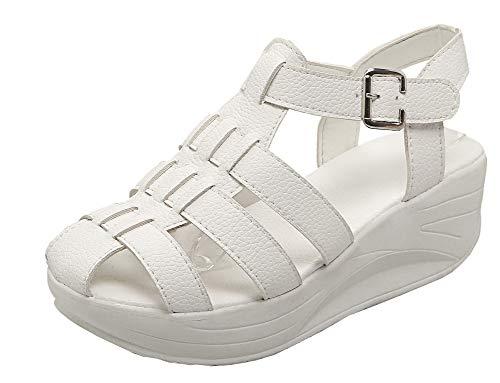 VogueZone009 Women Open Toe Buckle Pu Solid Kitten-Heels Sandals,CCALP012155 White