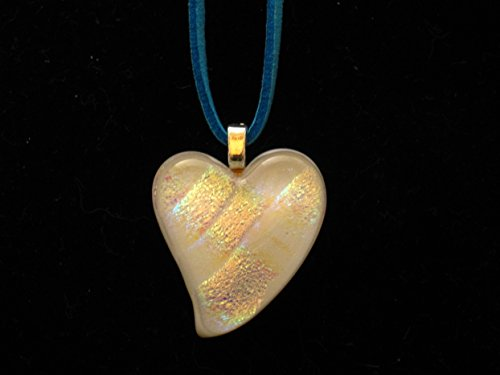 Fused Glass Heart Shaped Pendant, Dichroic Heart Pendant, Heart Shaped Necklace, White Heart with Suede Leather Necklace Cord with Lobster Clasp 18in ()