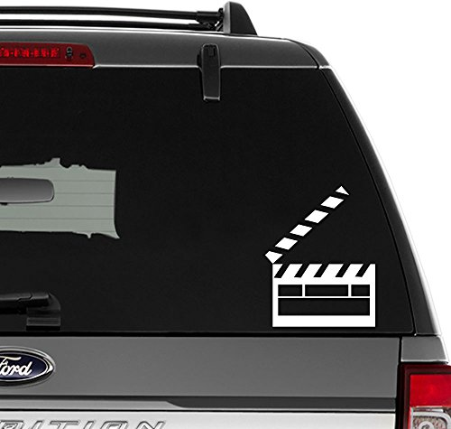 Director Movie Clapperboard Vinyl Decal Sticker for Wall Decor, Windows, Laptop, Car, Truck, Motorcycle, Vehicles (Size-6 inch /15 cm Tall) - (Matte White Color)