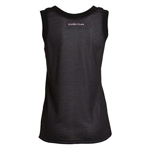 Blugirl folies Canotta Spalla Larga, Camiseta de Tirantes Interiores para Mujer Negro