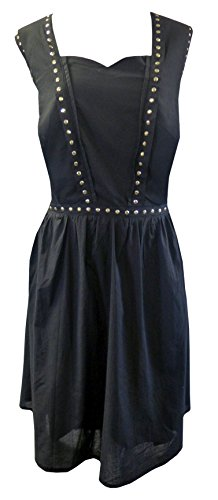 Black-Vintage-Style-Gothic-Flared-100-Cotton-Gold-Stud-Skater-Dress-Sizes-14-24