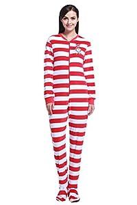 Cityoung Women's Striped Warm Cute Pajama Onesie