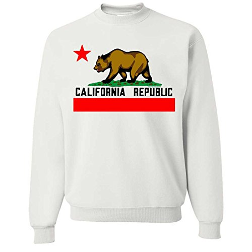 Dolphin Shirt Co California Republic Borderless Bear Flag Black Text Crewneck Sweatshirt - White Large