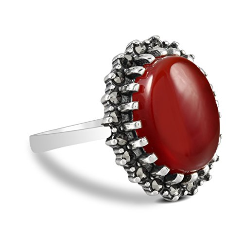 Chimoda Women Silver Ring With Oval Red Agate and Marcasite Stones Cocktail Setting (9) ()