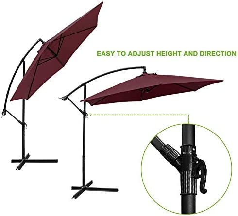 Flex HQ 10 ft Offset Cantilever Patio Umbrella Outdoor Market Hanging Umbrellas Crank with Cross Base Burgundy