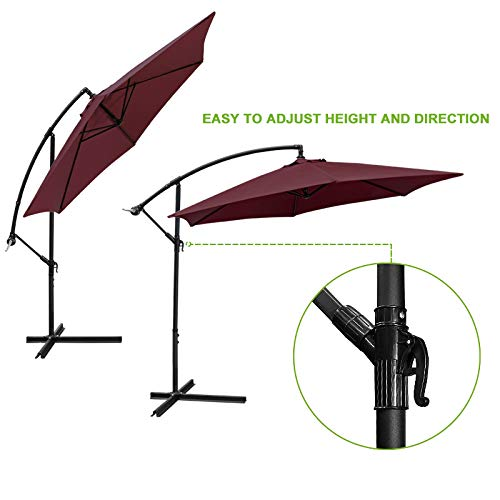 Flex HQ 10 ft Offset Cantilever Patio Umbrella Outdoor Market Hanging Umbrellas Crank with Cross Base Burgundy