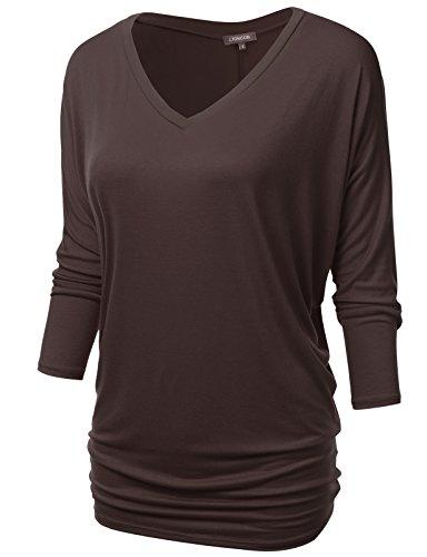 (NINEXIS Womens V-Neck 3/4 Sleeve Drape Dolman Top Brown XL)