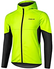 INBIKE Men's Hooded Cycling Bike Jacket Water Repellent Windbreaker Thermal Fleece Lined
