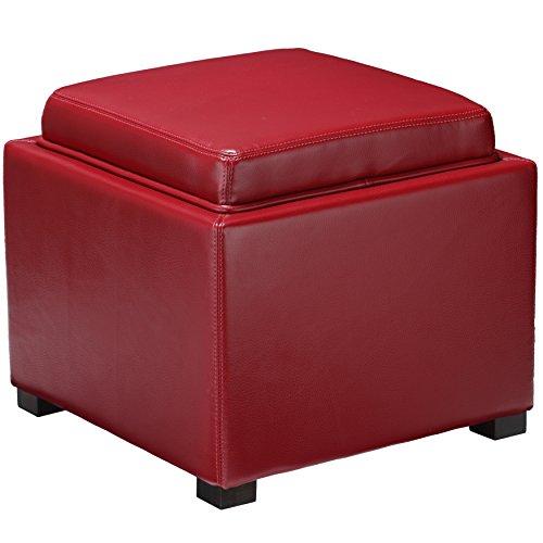 Bonded Leather Cube Ottoman (Cortesi Home Mavi Storage Tray Ottoman in Bonded Leather, Red)