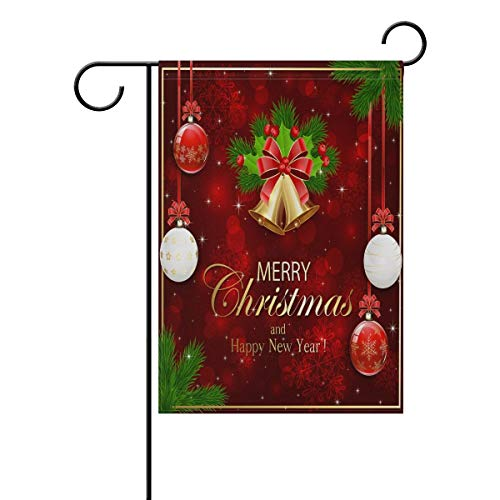 HOOSUNFlagrbfa New Year Polyester Garden Flag 12 X 18 Inches, Christmas Bells Balls Holly Berry Fir Tree Branches Decorative Yard Flag for Party Home Outdoor Decor ()