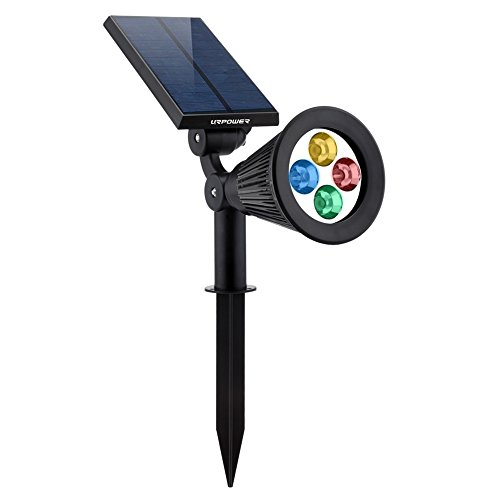 URPOWER Solar Lights 2-in-1 Solar Powered 4 LED Adjustable Spotlight Wall Light Landscape Light Bright & Dark Sensing Auto On/Off Security Night Lights for Patio Yard Stairs Pool (Changing Color) (1)