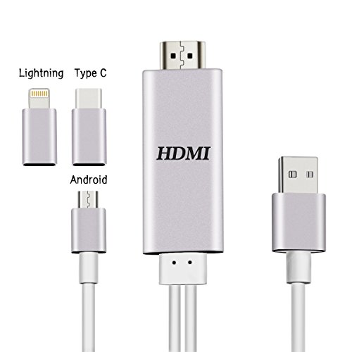 TV Phone Cable 3 in1 Android/Lightning Type C to HDMI Cable Lightning / Android Cellphones ipad media Sync