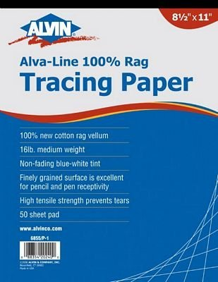 Vellum Tracing Paper (Set of 50) Size: 18 W x 24 D by Alvin and Co. by Alvin and Co.