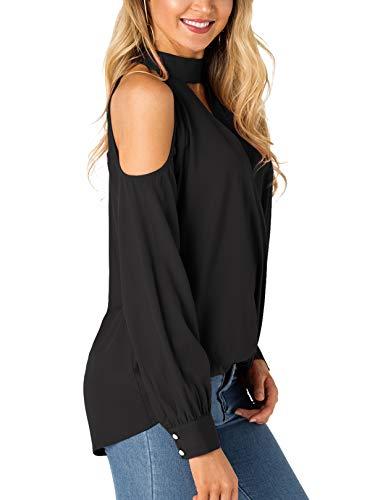 ca80ab2cf3575f YOINS Women Blouse Crossed Front Design Cold Shoulder V-Neck Lantern  Sleeves Top