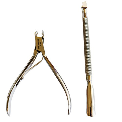 Dr.Tim Nippers Cuticle Nipper And Pusher Set: Cuticle Remover - Cutter, Manicure And Pedicure Beauty Tools, Fingernails And Toenails Professional Treatment, Stainless Steel Accessories With 1⁄4'' Jaw