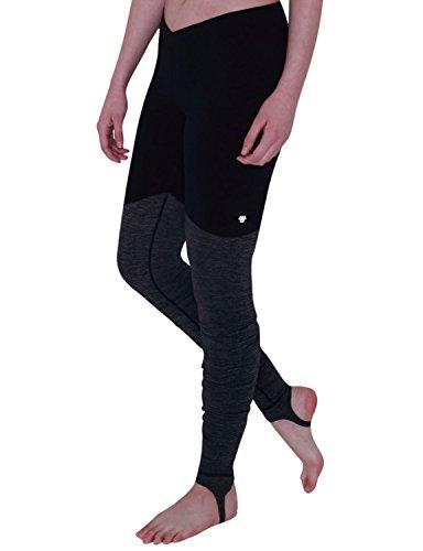 a02a625f4c729f Yogareflex Women's Workout Ribbed Color-blocked Stirrup Yoga Pants Leggings  , Black , Medium