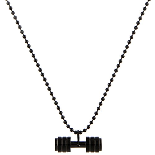 Price comparison product image 'Deadlift' Men's Black Stainless Steel Dumbell Necklace