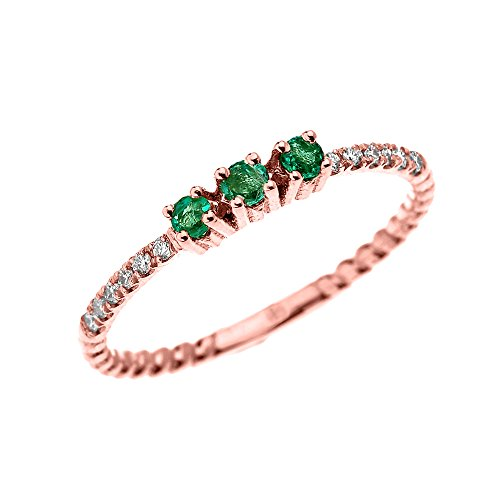 14k Rose Gold Three Stone Round Emerald and Diamond Dainty Rope Design Ring (Size 5.5) 3 Stone Design Diamond Ring