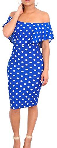 Dresses Polka Pencil Vogue Print Dot Scoop Bodycon Neck Ruffled Jewelry Women Cromoncent Blue qwAIzvC