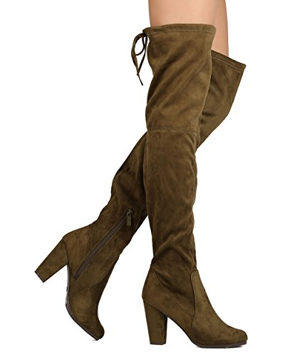 Breckelles Breckelles GB16 Women Faux Suede Thigh High Drawstring Block Heel Boot Olive AeJhBhL5