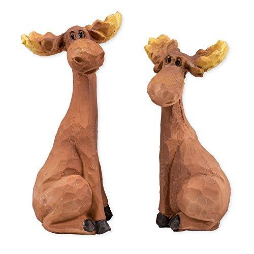 Hugging Moose Pair 4 x 2.5 x 5 Inch Resin Crafted Tabletop Figurine (Wicker Moose Head)