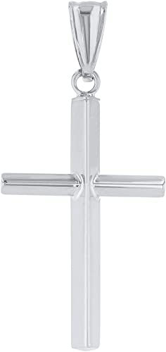 Polish Plain Crucifix Necklace Charm Men Women 14K Yellow Gold Cross Pendant