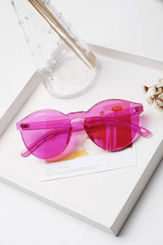(Jelly Lens Color Transparent uv Big Frame Sunglasses Women Girls Personality Fashion Round face Unique Round Glasses (Transparent Rose)