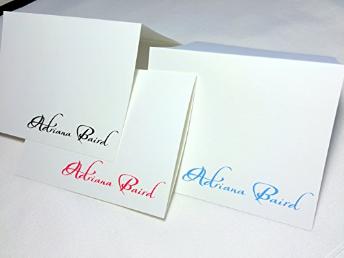50 Note Cards Personalized with Any Name. Set of 50 with Matching Envelopes. Choose Black, Berry Red, or Blue Printed on White Linen Textured Card Stock. A Great Personalized Gift! by Pen & Pad Stationers