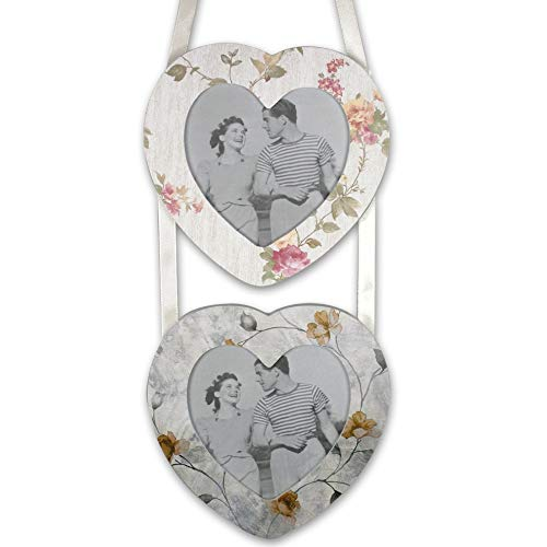 (BANBERRY DESIGNS Decorative Heart Frames - 2 Photo Openings Hanging Heart Photo Frame - Gifts for Her)