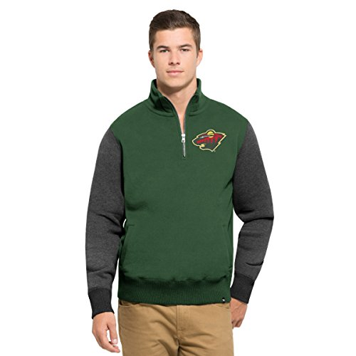Fleece Minnesota Twins Pullover - '47 NHL Minnesota Wild Men's Triple Coverage 1/4-Zip Pullover Fleece, Large, Varsity Green