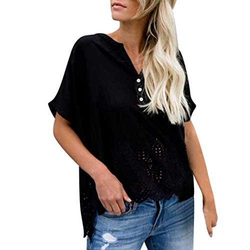 Chiffon Tops,Toimoth Women's V-Neck Hollow Blouse Short Sleeve Button Casual Shirts(Black,L)