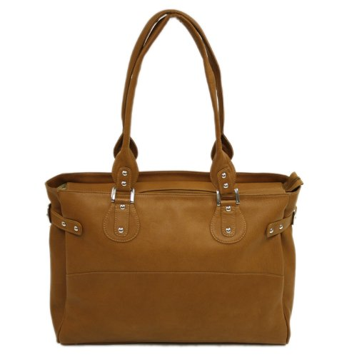 Piel Leather Large Ladies Side Strap Tote, Saddle, One Size