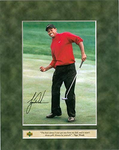 Sports Memorabilia Tiger Woods 8x10 Photo (Golf) Upper Deck with Facsimile Signature - Golf Plaques and Collages (Photo 8x10 Golf Certified Autograph)